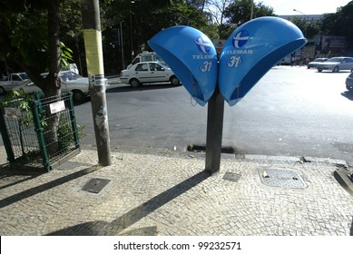 BELO HORIZONTE, BRAZIL - JULY 25:  Modern public telephones are shown July 25, 2005 in Belo Horizonte, Brazil.