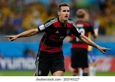 BELO HORIZONTE, BRAZIL - July 8, 2014: Miroslav Klose of Germany celebrates after scoring a goal during the World Cup Semi-finals game between Brazil and Germany at Mineirao Stadium. NO USE IN BRAZIL
