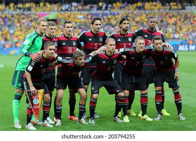 BELO HORIZONTE, BRAZIL - July 8, 2014: German team posing for a photo during the 2014 World Cup Semi-finals game between Brazil and Germany at Mineirao Stadium. NO USE IN BRAZIL.