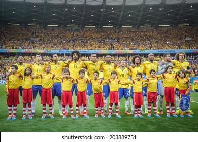 BELO HORIZONTE, BRAZIL - July 8, 2014: Brazil Team during the National Anthem at the 2014 World Cup Semi-finals game between Brazil and Germany at Mineirao Stadium. NO USE IN BRAZIL.