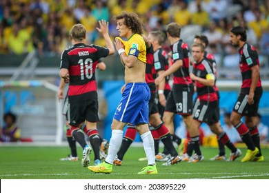BELO HORIZONTE, BRAZIL - July 8, 2014: German players celebrate 7x1 victory during the World Cup Semi-Final match against Brazil at Mineirao Stadium. NO USE IN BRAZIL.
