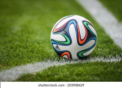BELO HORIZONTE, BRAZIL - July 8, 2014: Detail of the official ball Brazuca during the FIFA 2014 World Cup. Brazil is facing Germany in the Semi-finals at Mineirao Stadium. NO USE IN BRAZIL.
