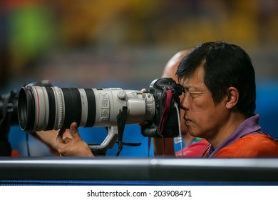 BELO HORIZONTE, BRAZIL - July 8, 2014: International media photographs Germany 7x1 win against Brazil at the World Cup Semi-finals at Mineirao Stadium. NO USE IN BRAZIL.