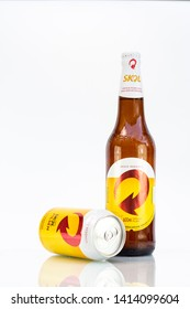 BELO HORIZONTE, BRAZIL - JUNE 01, 2019: Skol pilsen beer can and bottle background isolated on white, Skol is the most popular beer in Brazil, Lager chopp pilsen Brasileira, 600ml and 350ml