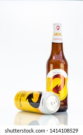 BELO HORIZONTE, BRAZIL - JUNE 01, 2019: Skol Pilsen and Pure Malt beer, can and bottle background isolated on white, Skol is the most popular beer in Brazil, Lager chopp Brasileira, 600ml and 473ml