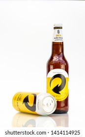 BELO HORIZONTE, BRAZIL - JUNE 01, 2019: Skol Pure Malt beer, can and bottle background isolated on white, Skol Pure Malt is the most popular beer in Brazil, Lager puro malte Brasileira 600ml and 473ml