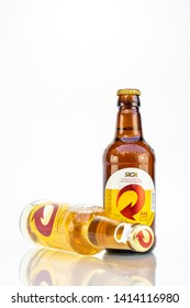 BELO HORIZONTE, BRAZIL - JUNE 01, 2019: Skol pilsen beer opens easy two bottle background isolated on white, Skol is the most popular beer in Brazil, Lager chopp pilsen Brasileira, 300ml and 275ml