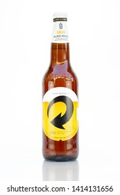 BELO HORIZONTE, BRAZIL - JUNE 01, 2019: Skol Pure Malt beer bottle background isolated on white, Skol is the most popular beer in Brazil, Lager chopp puro malte Brasileira, 600ml