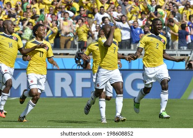 BELO HORIZONTE, BRAZIL - June 14, 2014: Pablo ARMERO of Colombia celebrates after scoring a goal during the 2014 World Cup Group C game between Colombia and Greece at Mineirao Stadium.