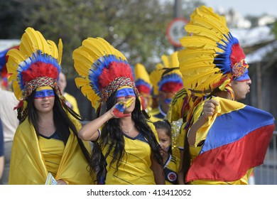 BELO HORIZONTE, BRAZIL - June 14, 2014: fantasized Colombian supporter of Indian during the 2014 World Cup. Colombia is facing Greece in the Group C at Minerao Stadium