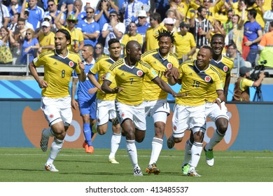 BELO HORIZONTE, BRAZIL - June 14, 2014: Pablo ARMERO, Abel AGUILAR, Juan CUADRADO and Juan ZUNIGA of Colombia during the 2014 World Cup. Colombia is facing Greece in the Group C at Minerao Stadium