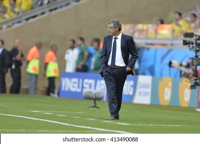 BELO HORIZONTE, BRAZIL - June 14, 2014: Fernando SANTOS coach during the 2014 World Cup. Colombia is facing Greece in the Group C at Minerao Stadium
