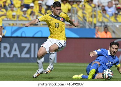 BELO HORIZONTE, BRAZIL - June 14, 2014: James RODRIGUEZ of Colombia during the 2014 World Cup. Colombia is facing Greece in the Group C at Minerao Stadium