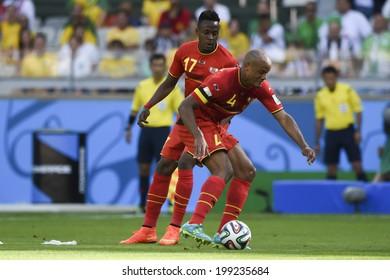 BELO HORIZONTE, BRAZIL - June 17, 2014: Divok Origi and Vincent Kompany of Belgium are seen during the 2014 World Cup Group H game between Belgium and Algeria at Mineirao Stadium.