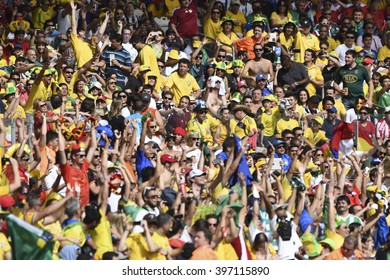 BELO HORIZONTE, BRAZIL - June 17, 2014: Fans  during the World Cup Group H game between Belgium and Algeria at Mineirao Stadium.