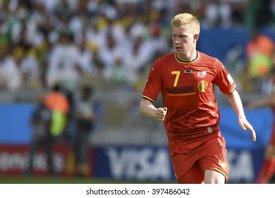 BELO HORIZONTE, BRAZIL - June 17, 2014: Kevin DE BRUYNE of Belgium, compete for the ball during the World Cup Group H game between Belgium and Algeria at Mineirao Stadium.