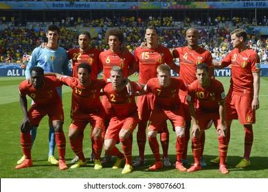 BELO HORIZONTE, BRAZIL - June 17, 2014:  Belgium Team during the World Cup Group H game between Belgium and Algeria at Mineirao Stadium.