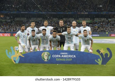 BELO HORIZONTE, BRAZIL - June 19, 2019: Argentina team posing for a photo during the 2019 Copa America. Argentina is facing Paraguay in the Group B at Mineirao Stadium.