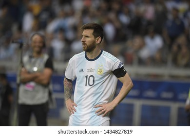 BELO HORIZONTE, BRAZIL - JUNE 19, 2019: Lionel Messi of Argentina during the 2019 Group B America's Cup match between Argentina and Paraguay at the Mineirao stadium.