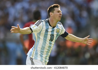 Belo Horizonte, Brazil - June 21, 2014: Lionel MESSI of Argentina during the FIFA 2014 World Cup. Argentina is facing Iran in the Group F at Minerao Stadium