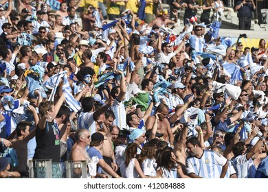 Belo Horizonte, Brazil - June 21, 2014: Fan during the FIFA 2014 World Cup. Argentina is facing Iran in the Group F at Minerao Stadium