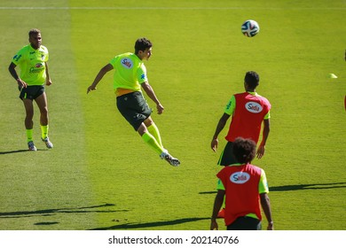 BELO HORIZONTE, BRAZIL - June 27, 2014: Brazil National team during a training session at the Sesc Club in Belo Horizonte during the 2014 FIFA World Cup in Brazil. No Use in Brazil.