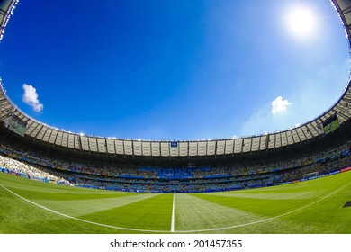 BELO HORIZONTE, BRAZIL - June 28, 2014: Mineirao Stadium before the 2014 World Cup Round of 16 game between Brazil and Chile. No Use in Brazil.