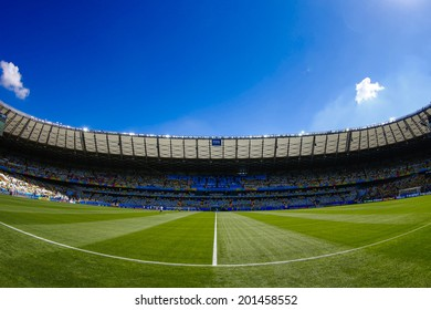 BELO HORIZONTE, BRAZIL - June 28, 2014: Mineirao Stadium where Brazil is facing Chile in the Round of 16 during the FIFA 2014 World Cup. No Use in Brazil.