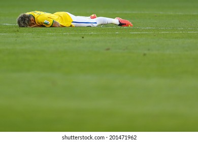 BELO HORIZONTE, BRAZIL - June 28, 2014: Neymar of Brazil during the 2014 World Cup Round of 16 game between Brazil and Chile at Mineirao Stadium. No Use in Brazil.