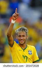 BELO HORIZONTE, BRAZIL - June 28, 2014: Neymar of Brazil celebrates winning the 2014 World Cup Round of 16 game between Brazil and Chile at Mineirao Stadium. No Use in Brazil.