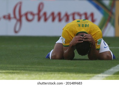 BELO HORIZONTE, BRAZIL - June 28, 2014: Hulk of Brazil during the 2014 World Cup Round of 16 game between Brazil and Chile at Mineirao Stadium. No Use in Brazil.