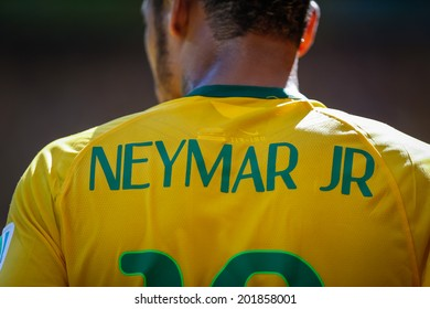 BELO HORIZONTE, BRAZIL - June 28, 2014: Neymar of Brazil during the World Cup Round of 16 game between Brazil and Chile at Mineirao Stadium. No Use in Brazil.