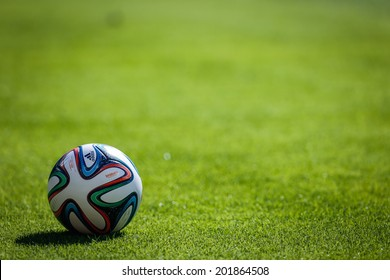 BELO HORIZONTE, BRAZIL - June 28, 2014: Brazuca ball during the 2014 World Cup Round of 16 game between Brazil and Chile at Mineirao Stadium. No Use in Brazil.