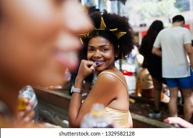 BELO HORIZONTE, BRAZIL - MARCH 03, 2019: People celebrating Carnival on a street March 03, 2019, Belo Horizonte, Minas Gerais, Brazil