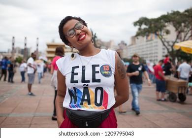 BELO HORIZONTE, BRAZIL - OCTOBER 20, 2018:  Pro-Haddad Brazilians protest against Bolsonaro on streets of Belo Horizonte