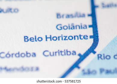 Belo Horizonte, Brazil on a geographical map.