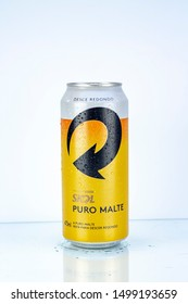 BELO HORIZONTE, BRAZIL - SEPTEMBER 08, 2019: Skol beer can background isolated on white, Skol Pure Malt is the most popular beer in Brazil, Lager puro malte Brasileira, 473ml
