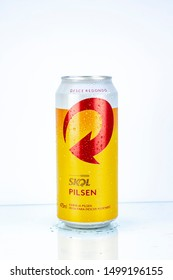 BELO HORIZONTE, BRAZIL - SEPTEMBER 08, 2019: Skol pilsen beer can background isolated on white, Skol is the most popular beer in Brazil, Lager chopp pilsen Brasileira, 473ml