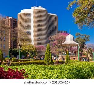 Belo Horizonte - Minas Gerais - Brasil - JUL 18 2021: Partial View Liberty Square