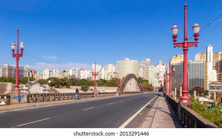 Belo Horizonte - Minas Gerais - Brasil - JUL 18 2021: Partial view of downtown Belo Horizonte