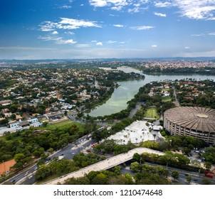 Belo Horizonte, Minas Gerais, Brazil. Aerial View of Pampulha Lake.