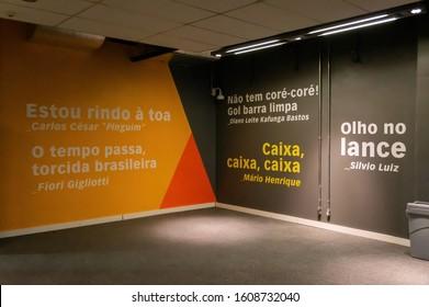 BELO HORIZONTE, MINAS GERAIS / BRAZIL - FEBRUARY 7, 2016: Famous brazilian football commentators quotes written on the walls of the Mineirao Stadium entrance hall.