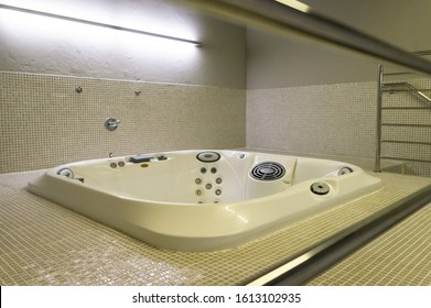 BELO HORIZONTE, MINAS GERAIS / BRAZIL - FEBRUARY 7, 2016: Whirlpool bathtub used for the teams to treat and recover the football players after the matches played in Mineirao Stadium.