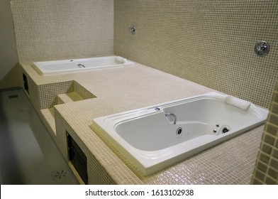 BELO HORIZONTE, MINAS GERAIS / BRAZIL - FEBRUARY 7, 2016: Whirlpool bathtubs used for the teams to treat and recover the football players after the matches played in Mineirao Stadium.
