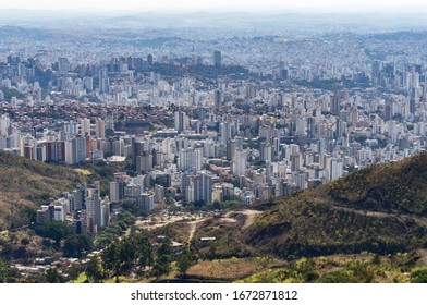 BELO HORIZONTE, MINAS GERAIS / BRAZIL - AUG 8, 2017: Far view of Santa Lucia and Sion districts located at south zone of Belo Horizonte metropolitan region. View from Serra do Curral (Curral Ridge).