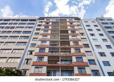 BELO HORIZONTE / MINAS GERAIS / BRAZIL - OCTOBER 05 2019: Degraded residential building in Belo Horizonte downtown