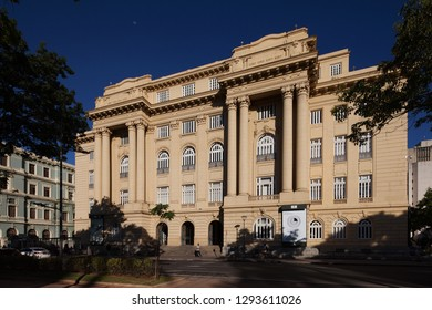 Belo Horizonte, Minas Gerais/BRAZIL - January 20th, 2019 - An exterior view of Bank of Brazil Cultural Center Building at Liberty Square in Belo Horizonte, Brazil.