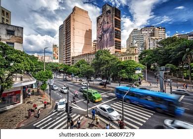 Belo Horizonte/MG/Brazil - April 15th 2019: View of Vehicle Traffic on Afonso Pena Avenue, Downtown Belo Horizonte