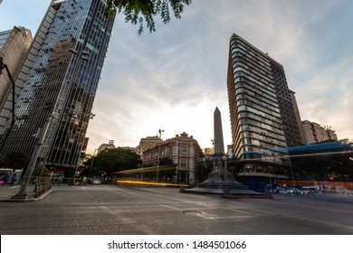 Belo Horizonte/MG/Brazil - Aug 18th 2019: Long exposure of traffic light trails on Downtown BH with the Obelisk in September 7th Square (Praça Sete de Setembro) at sunset.