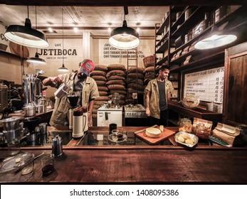 Belo Horizonte/MG/Brazil - May 26th 2019: Cafe Jetiboca in The New Market of Belo Horizonte - Coffee from the Farm in Orizânia, Minas Gerais State